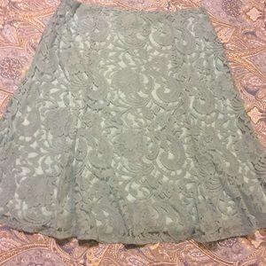 Roz & Ali SeaFoam Lace Skirt Sz 10